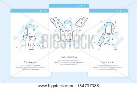 Premium Quality Line Icon And Concept Set Onboarding: Conference, Online training, Super leader, Businessman.