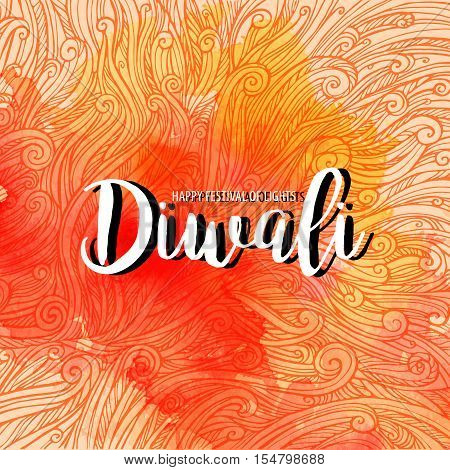 Vector illustration on the theme of the traditional celebration happy diwali. curls and watercolor spot with the inscription. Deepavali light and fire festival.