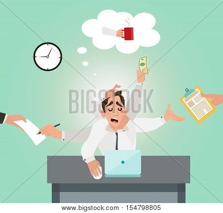 Office worker sleeping on the job and dreams of a coffee. An employee with multitasking in the office. Flat style design vector illustration.