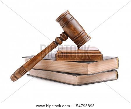 Gavel with sound block and books isolated on white