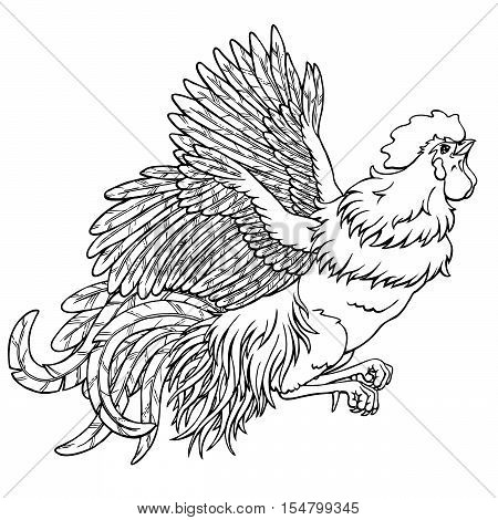 Flying rooster black contour line on white background. Fiery cock, chicken a symbol of the Chinese new year 2017. Vector illustration. Vintage.