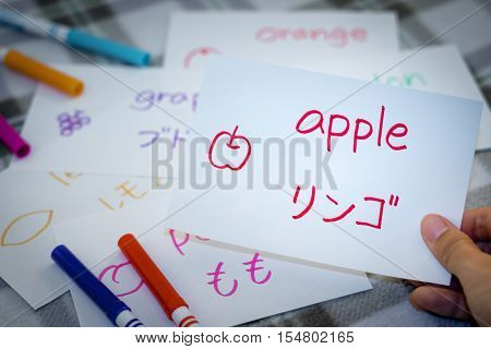 Japanese; Learning New Language With Fruits Name Flash Cards