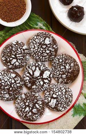 Chocolate crinkle cookies traditional American Christmas cookies photographed overhead with natural light