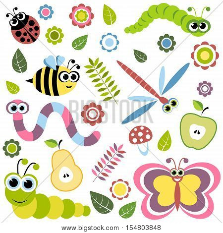 Background with cartoon insects flowers leaves apple and pear