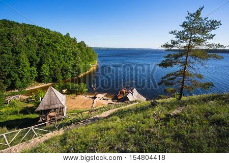 Old Wooden Fort On A Shore