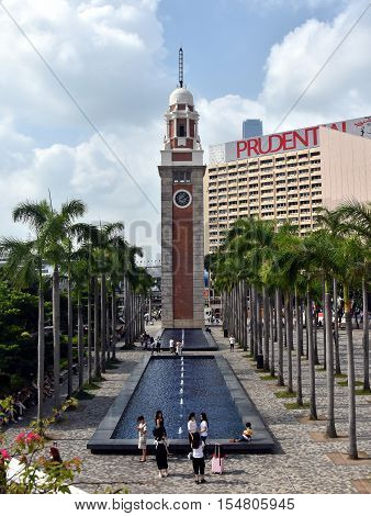 Hong Kong China - Oct 29 2016: Former Kowloon-Canton Railway Clock Tower in Tsim Sha Tsui Hong Kong. This landmark is the only remnant of the former Kowloon-Canton Railway Terminus.