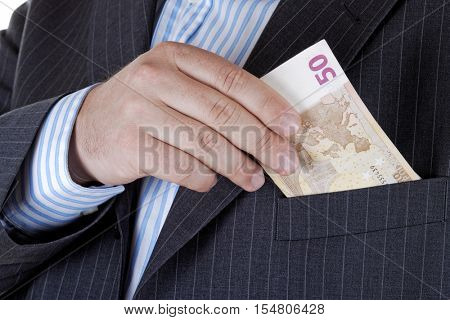 Businessman takes out money from your pocket.