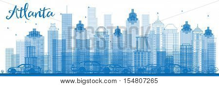 Outline Atlanta Skyline with Blue Buildings. Vector Illustration. Business Travel and Tourism Concept with Modern Architecture. Image for Presentation Banner Placard and Web Site.