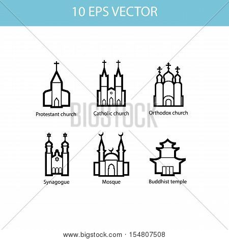 Vector set illustration of temples vector icons