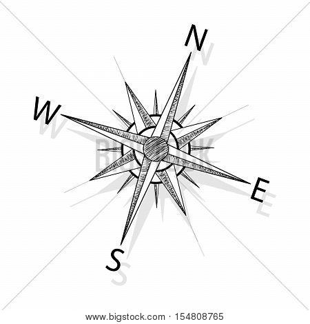 Vector hand drawing compass on white background