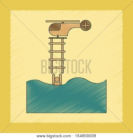 flat shading style icon of people in water Helicopter