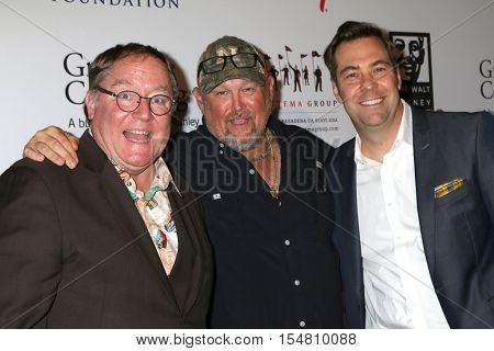 LOS ANGELES - NOV 1:  John Lasseter, Daniel Whitney, Brian Fee at the The Walt Disney Family Museum Gala at Disney's Grand Californian Hotel & Spa on November 1, 2016 in Anaheim, CA