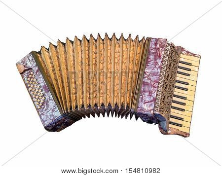 Vintage accordion over white background