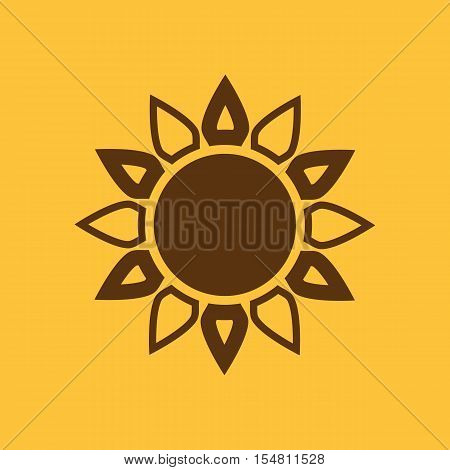 The weather icon. Sunrise and sunshine, weather, sun symbol. UI. Web. Logo. Sign. Flat design. App. Stock vector