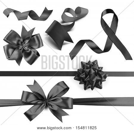 Set of festive ribbons on white background