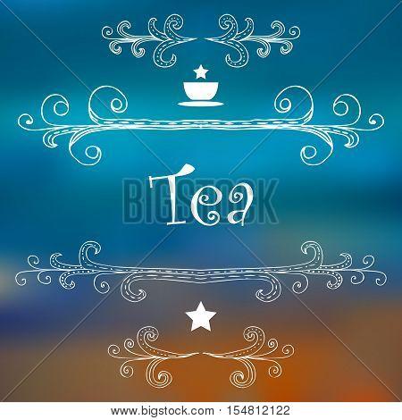 Tea advertising design. Menu hand-drawn decoration. Vector illustration.