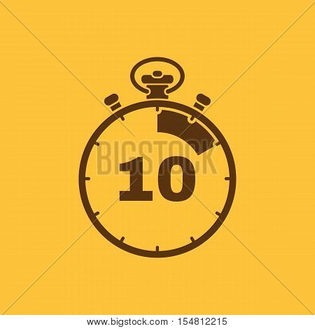 The 10 seconds, minutes stopwatch icon. Clock and watch, timer, countdown, stopwatch symbol. UI. Web. Logo. Sign. Flat design. App. Stock vector
