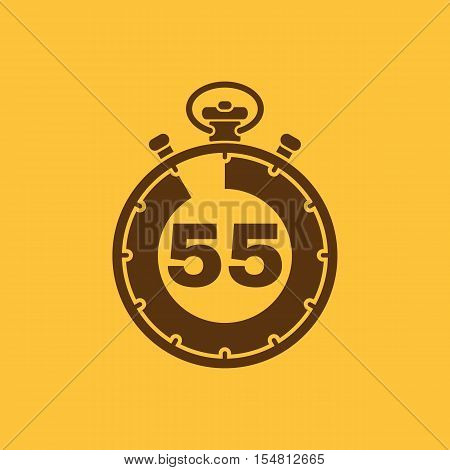The 55 seconds, minutes stopwatch icon. Clock and watch, timer, countdown, stopwatch symbol. UI. Web. Logo. Sign. Flat design. App. Stock vector