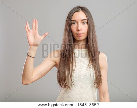 Girl Showing Vulcan Greeting