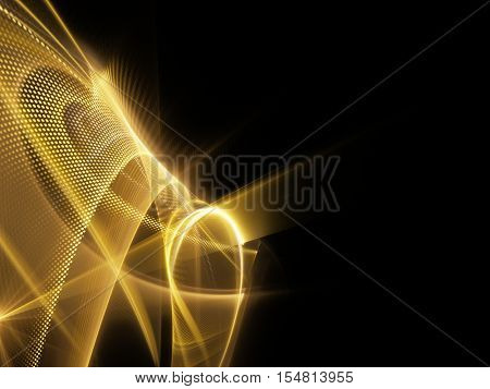 Abstract background element. Fractal graphics series. Three-dimensional composition of glowing lines and halftone effects. Information and energy concept. Golden yellow on black.