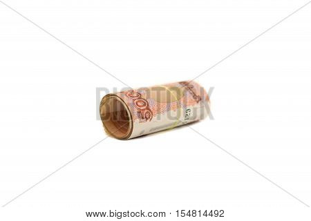 A roll of banknotes 5000 rubles. Isplated