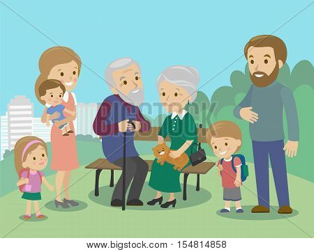 Big family characters with mother father grandmother grandfather kids baby child set. Vector illustration. Familiar meeting in the park