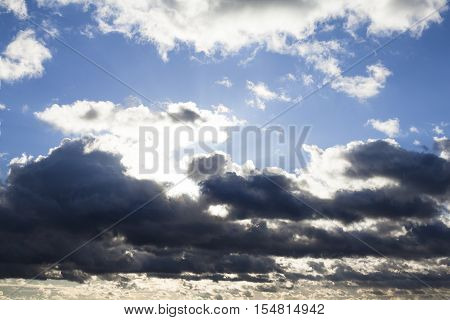 Cloudscape with the sun rays radiating from behind the clouds