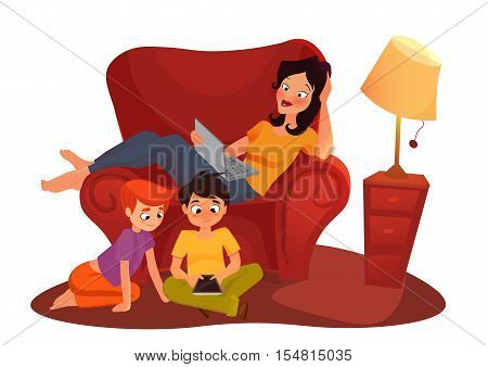 vector cartoon illustration isolated on white background Young mother is working at home, woman sitting on the sofa with a computer, mom freelance women, girl is watching online movie
