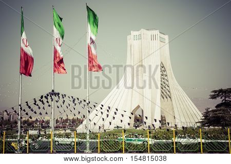 Teheran, Iran - October 03, 2016: Azadi Tower With Flasgs Of Iran, Tehran, Iran