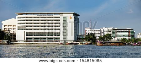 Bangkok, Thailand - December 8, 2015: Panorama of King Mongkut's University of Technology North Bangkok on Chao Phraya River. It was established from cooperation between Thai Government and Germany