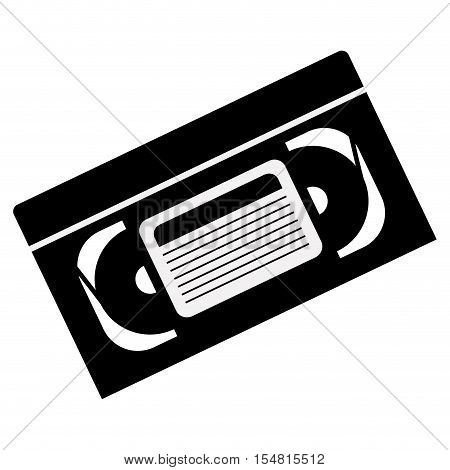 silhouette of video cassette tape icon over white background. vector illustration