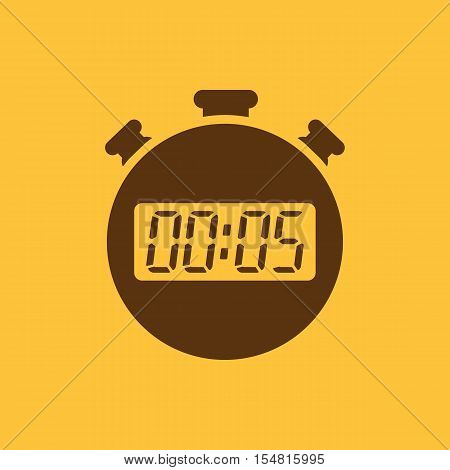 The 5 seconds, minutes stopwatch icon. Clock and watch, timer, countdown, stopwatch symbol. UI. Web. Logo. Sign. Flat design. App. Stock vector