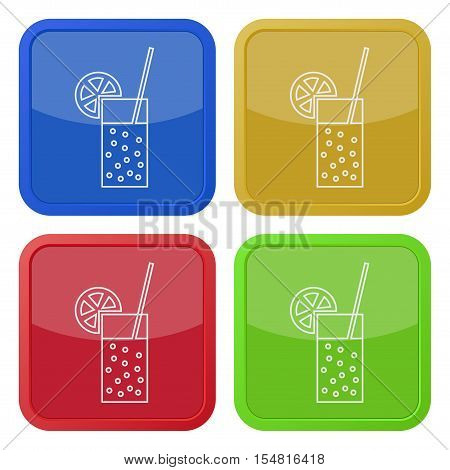 Set of four square colored buttons and icons. Glass with carbonated drink, straw and citrus.