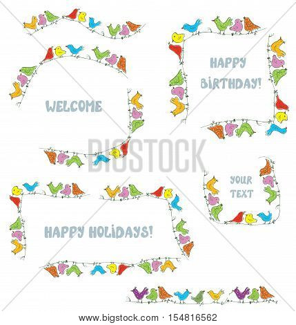 Frames set for events and holidays with funny birds - vector illustration
