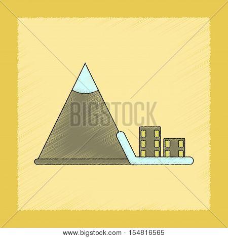 flat shading style icon of Mountain avalanche house