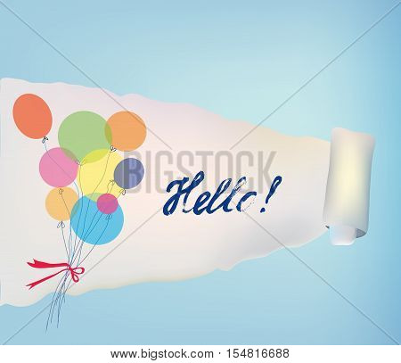 Paper scroll background with baloons and hello for banner or card - vector illustration