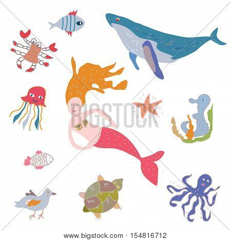 Sea life animals and mermaid set - funny design of vector illustration