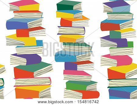 Book piles seamless pattern - vector graphic illustration