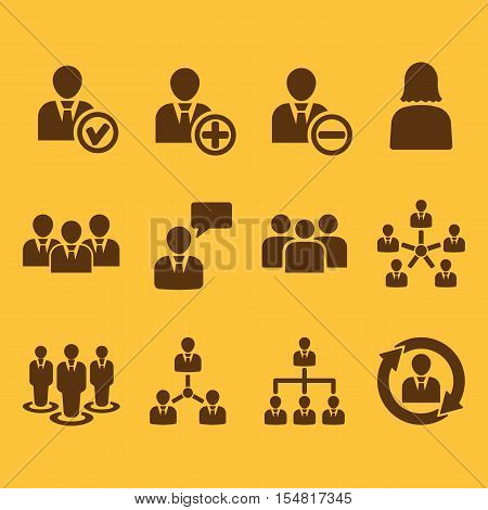 The management icon, set of 12 icons. Team and group, teamwork, people, alliance, management symbol. UI. Web. Logo. Sign. Flat design. App. Stock vector