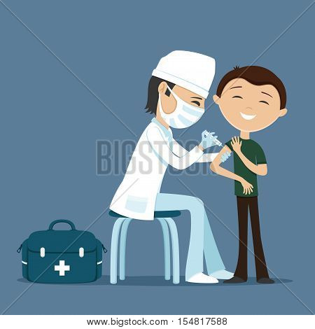 Cheerful doctor making vaccination to the patient.