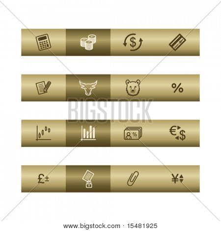 Finance web icons on bronze bar. Vector file has layers, all icons in two versions are included.