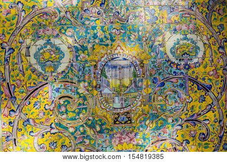 Teheran, Iran - October 05, 2016: Old Mosaic Wall In Golestan Palace. Teheran, Iran.
