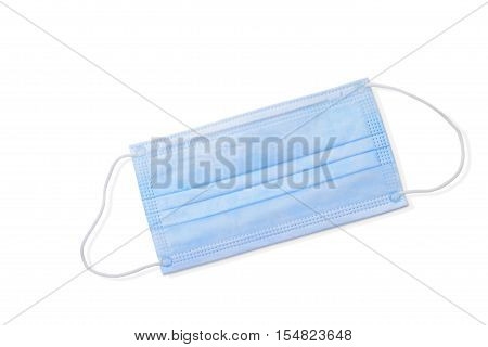 Still Life of a Disposable Face Mask or Dust Mask on White Background