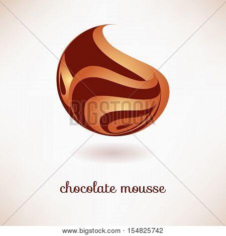 Chocolate mousse. Vector design element. The logo icon is chocolate dessert pasta.