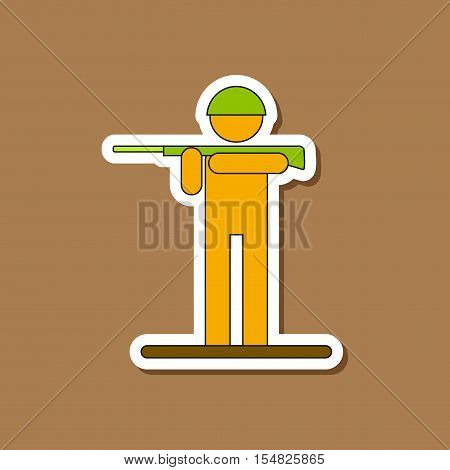 paper sticker on stylish background of Kids military soldier