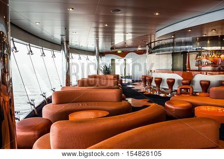 Cruise liner Splendidda - Aug 4, 2016: Bar interior on cruise liner. Liquid discotheque.