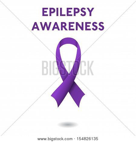 Purple ribbon and text of epilepsy awareness