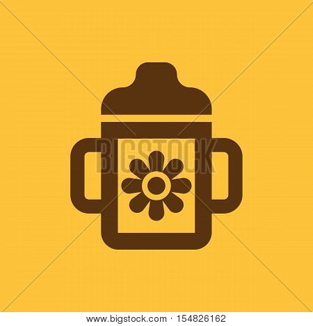 Feeding cup icon. design. Baby bottle, Feeding cup symbol. web. graphic. AI. app. logo. object. flat. image. sign. eps. art. picture - stock vector