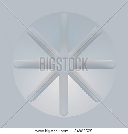 3d illustration. White symmetrical abstract architectural background. The circle divided into eight sectors top view. Sacred geometry. Render.