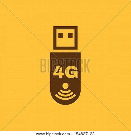 The 4g adapter icon. Transfer and connection, data, 4g symbol. UI. Web. Logo. Sign. Flat design. App. Stock vector